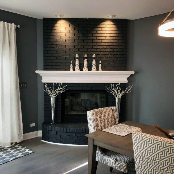 Black Painted Brick Fireplace Painted Brick Fireplace | Alexander and Xavier Masonry