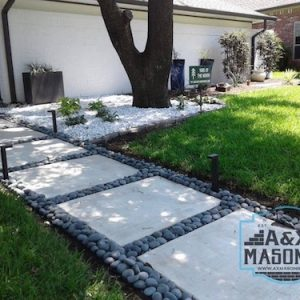 Concrete Pads With Rocks in Garland TX | Alexander and Xavier Masonry