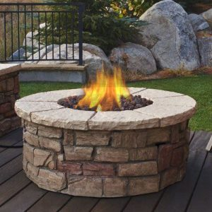 Fire Pit Using Stacked Flagstones and Bricks | Fire Pit Ideas Outdoor Living | Alexander and Xavier Masonry