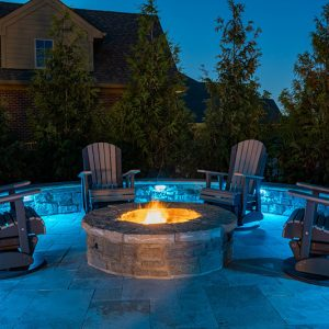 Fire Pit with Lights and Backdrops | Fire Pit Ideas Outdoor Living | Alexander and Xavier Masonry