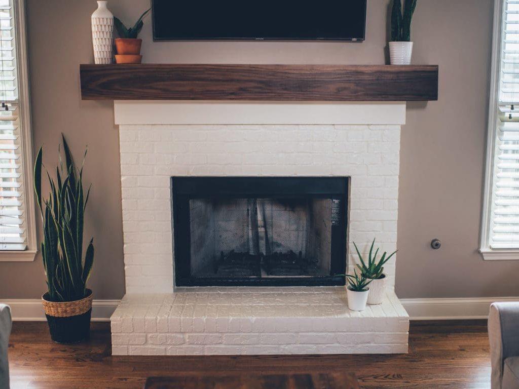 Modern White and Walnut Mantel Painted Brick Fireplace   Alexander and Xavier Masonry