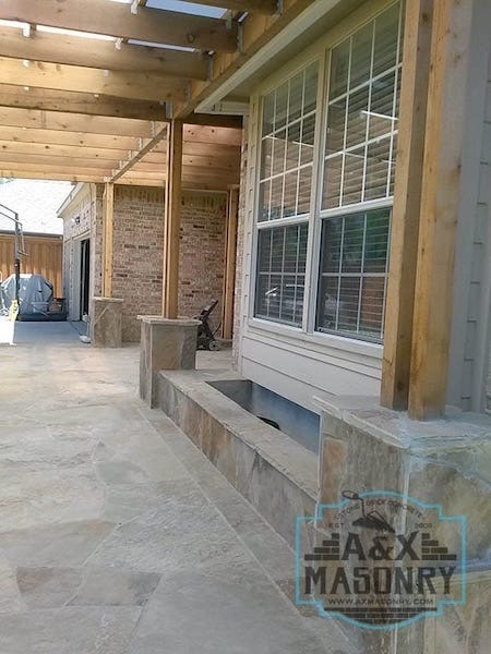 Oklohoma Stone Planter Stone Columns | Alexander and Xavier Masonry
