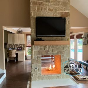 Stone Double Fireplace | Alexander and Xavier Masonry