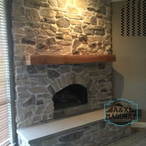 Stone fire place client | Alexander and Xavier Masonry