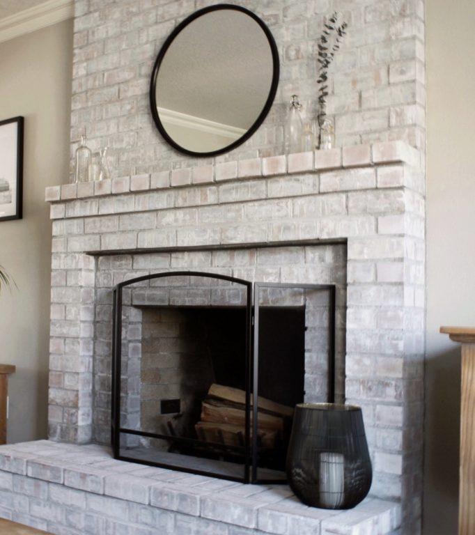 Whitewash Fireplace Painted Brick Fireplace   Alexander and Xavier Masonry